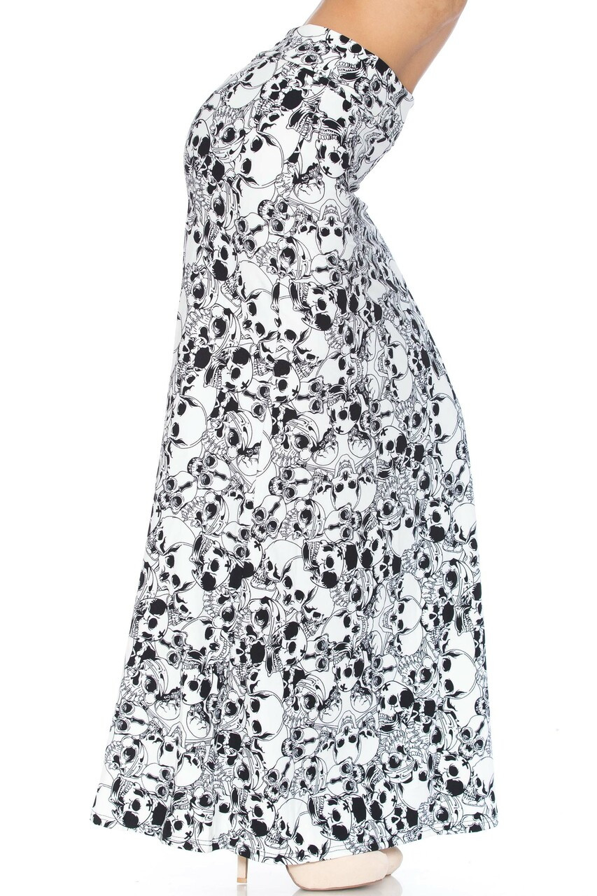 Right side image of Buttery Soft White Layers of Skulls Plus Size Maxi Skirt