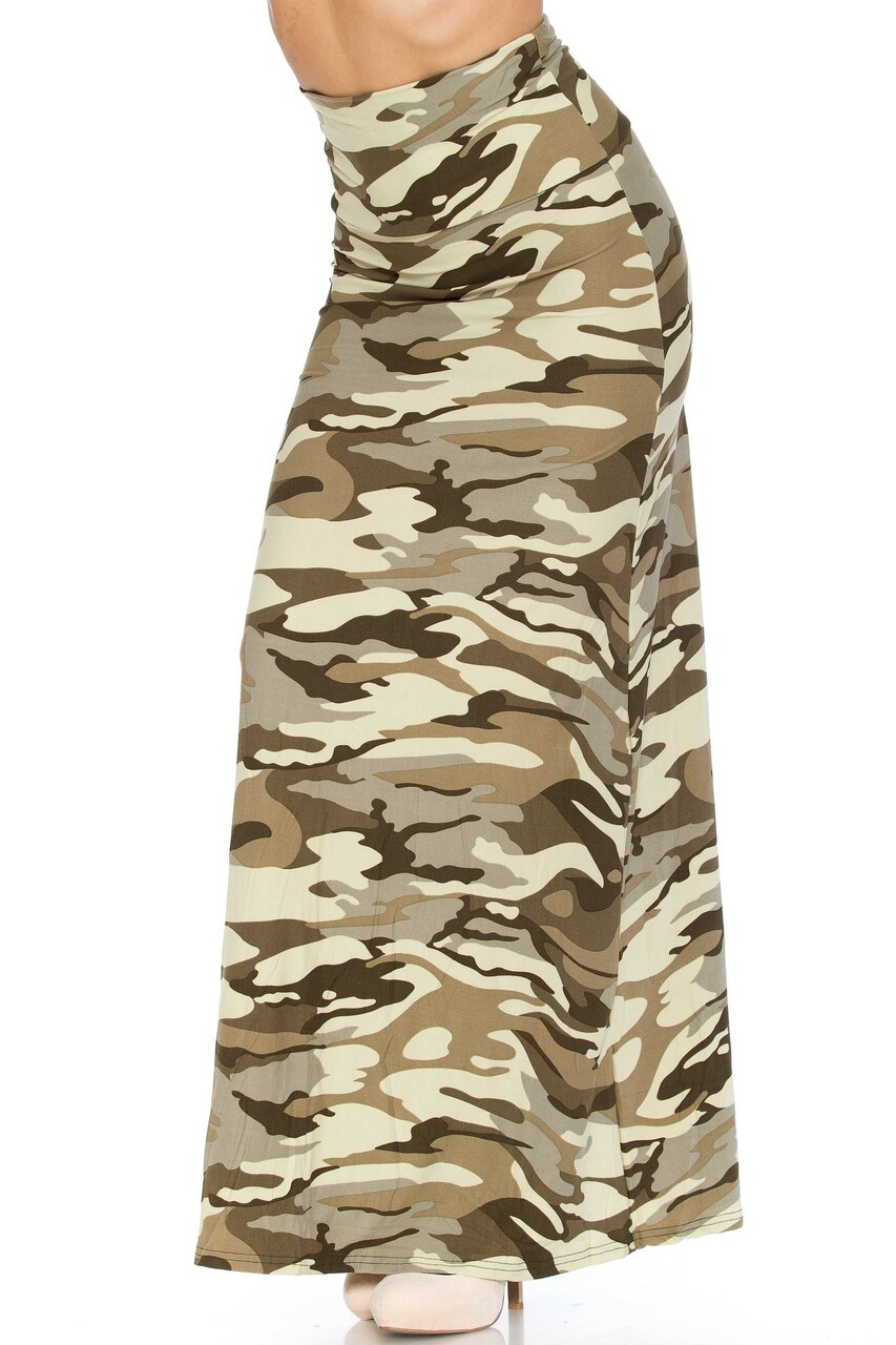 Left side image of Buttery Soft Light Olive Camouflage Maxi Skirt with an always in style camo print
