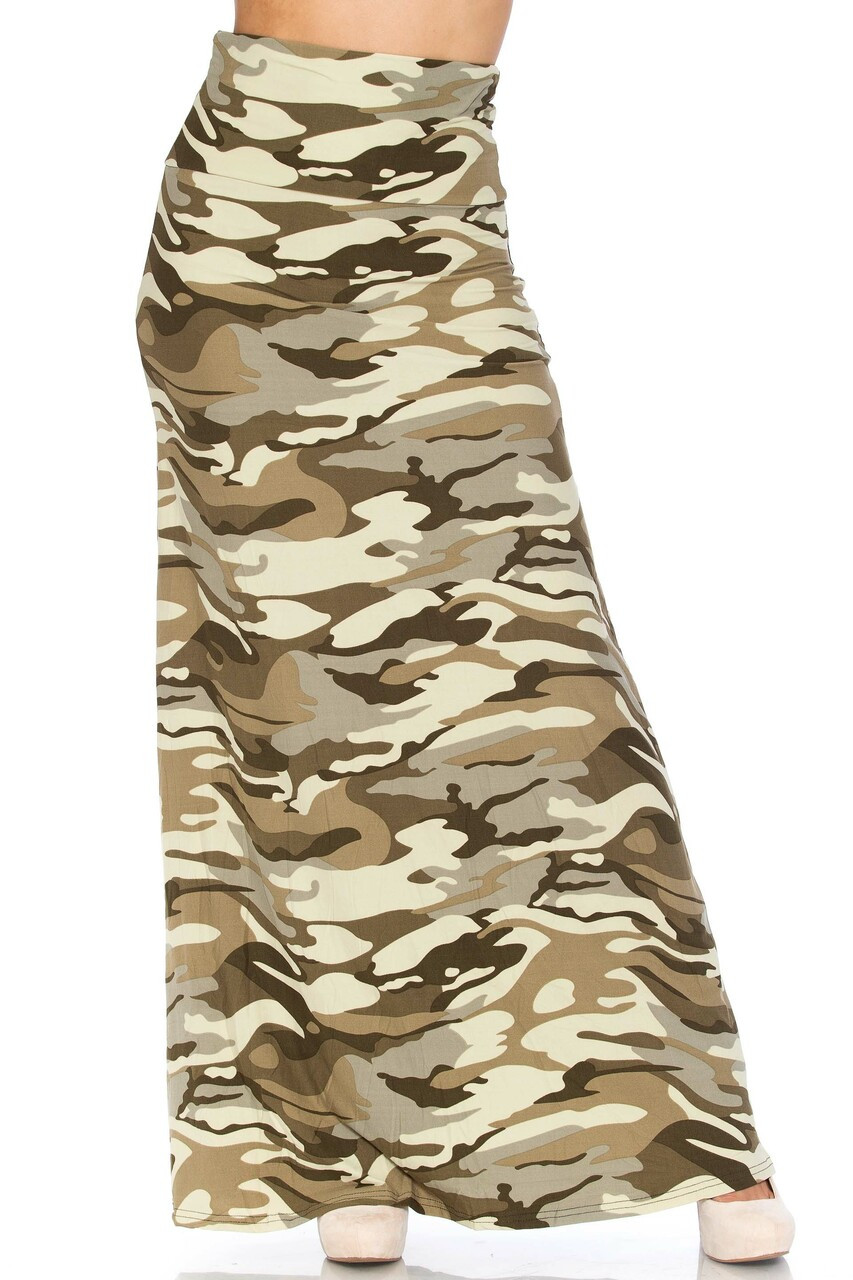 Front side image of Buttery Soft Light Olive Camouflage Maxi Skirt featuring a past ankle length hem