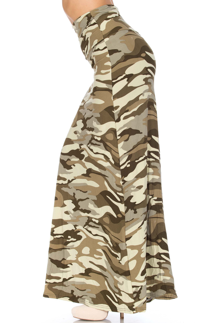Left side of Buttery Soft Light Olive Camouflage Plus Size Maxi Skirt with an all olive toned army print design.