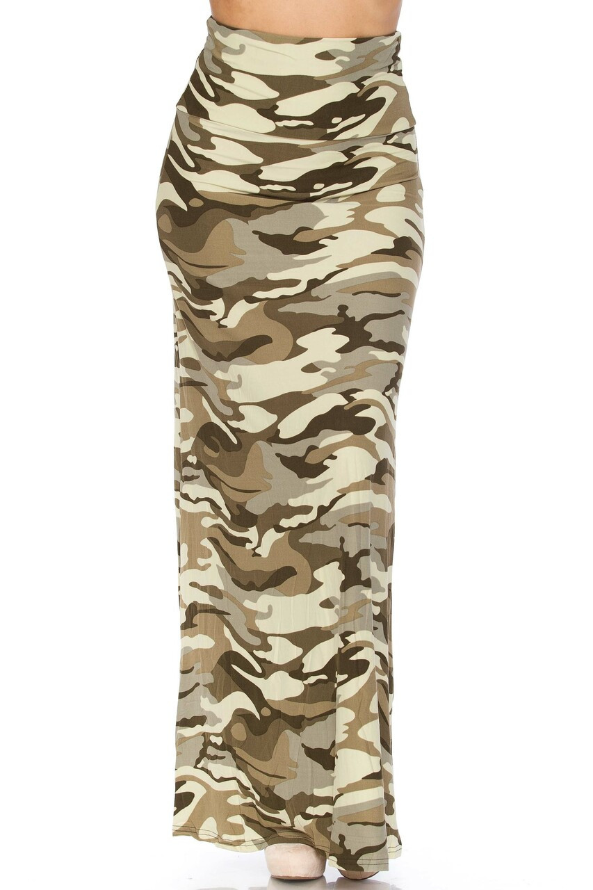 Front side image of Buttery Soft Light Olive Camouflage Plus Size Maxi Skirt