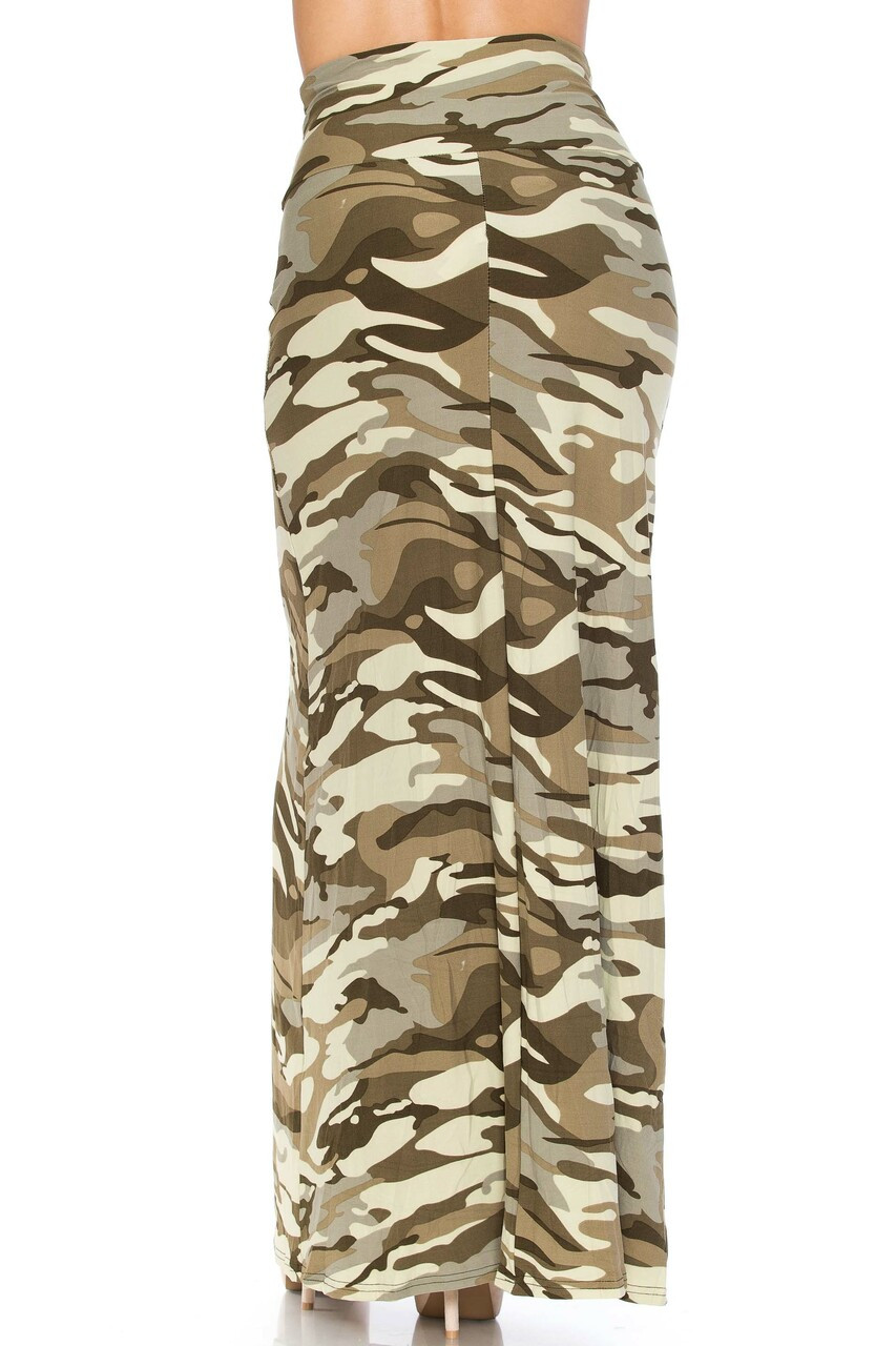 Back side image of Buttery Soft Light Olive Camouflage Plus Size Maxi Skirt