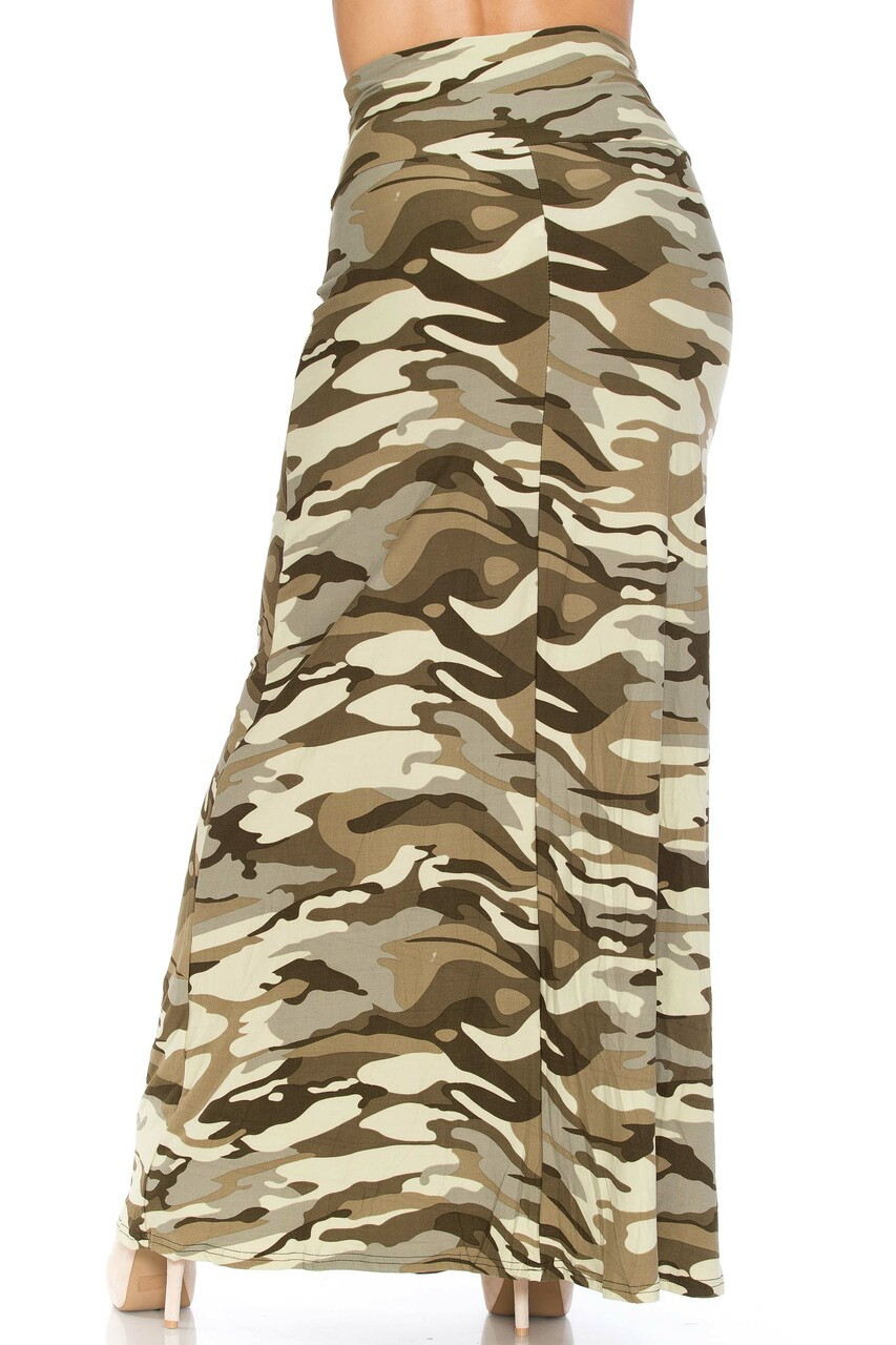 Back side image of Buttery Soft Light Olive Camouflage Plus Size Maxi Skirt featuring a high waist design that is super flattering.