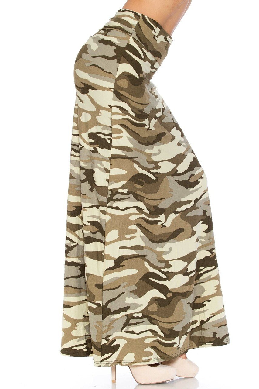 Right side of Buttery Soft Light Olive Camouflage Plus Size Maxi Skirt
