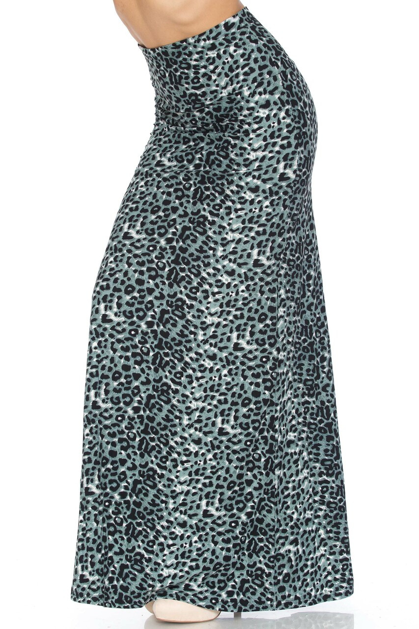 Left side image of Buttery Soft Snow Leopard Maxi Skirt