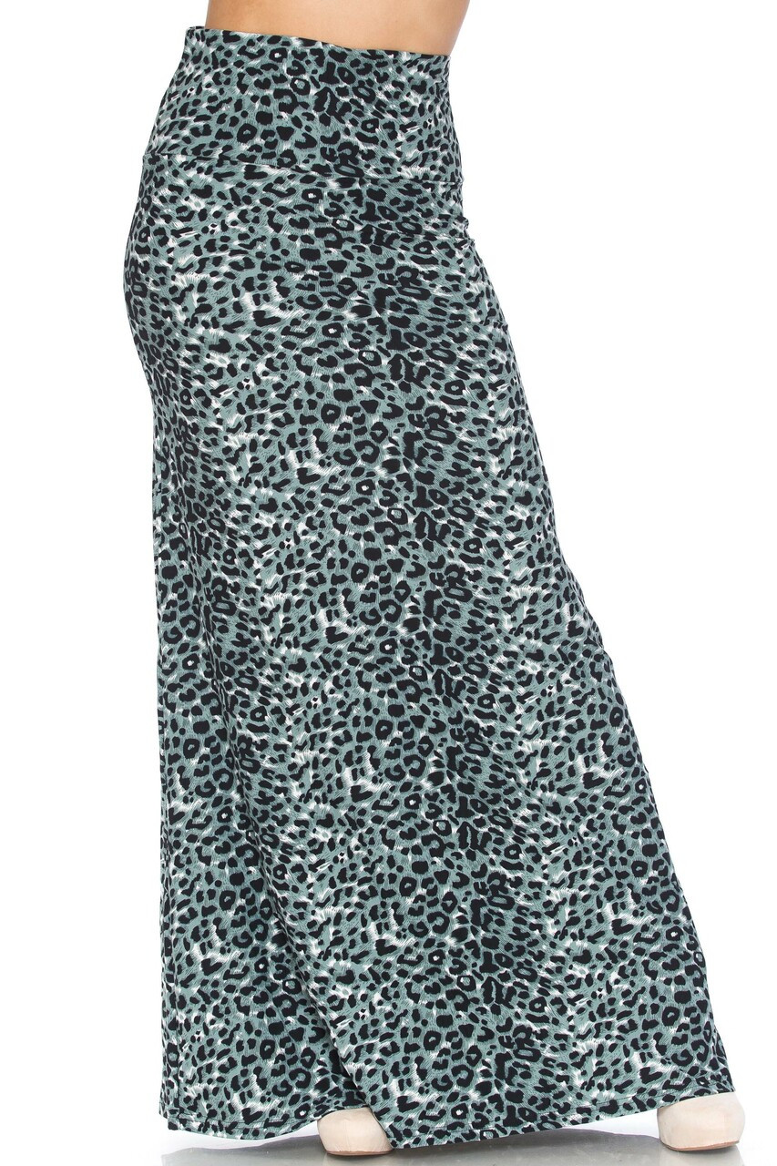 Front side image of Buttery Soft Snow Leopard Plus Size Maxi Skirt with a comfortable high fabric waist.