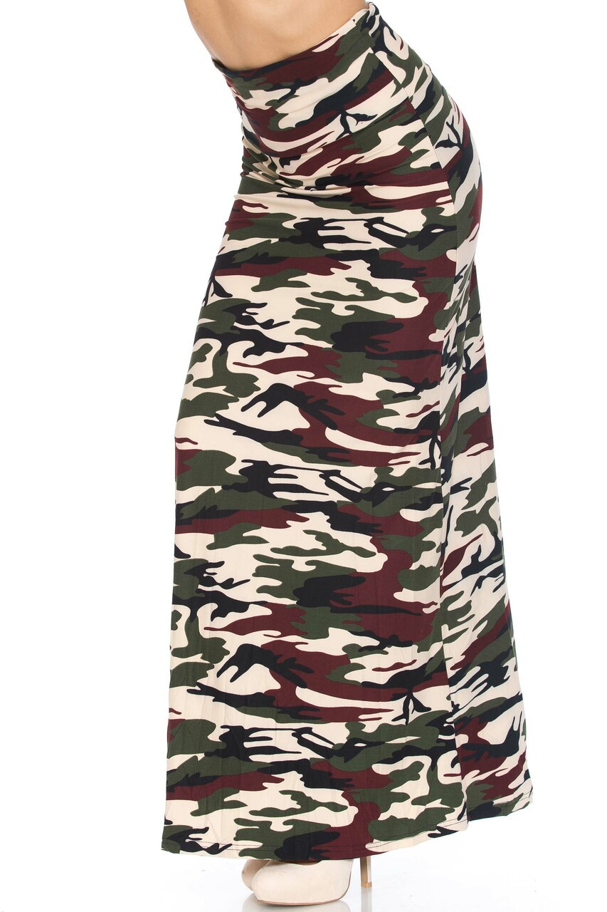 45 degree view of Buttery Soft Cozy Camouflage Plus SIze Maxi Skirt