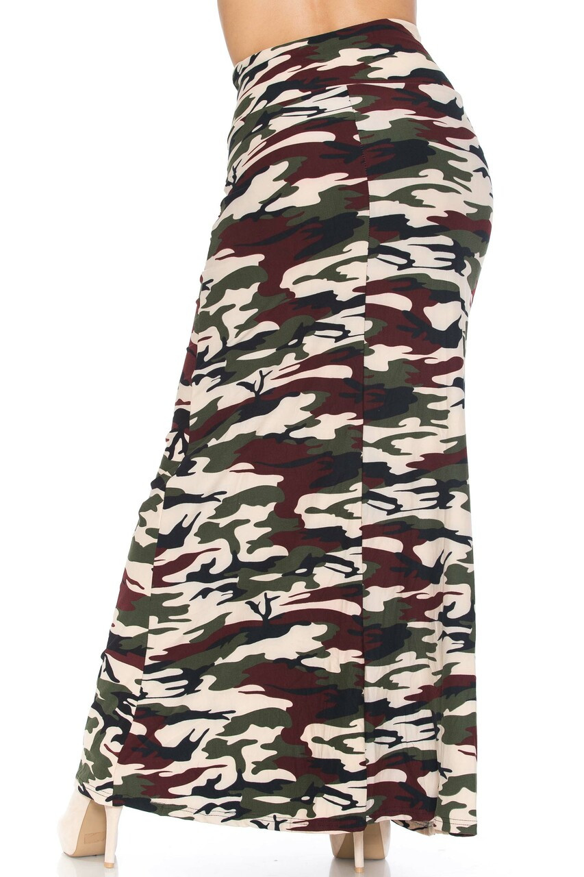 Back side image of Buttery Soft Cozy Camouflage Plus SIze Maxi Skirt with a below the ankle hem depending on height