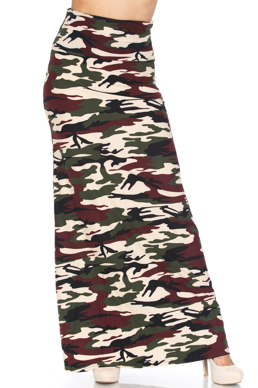 Front side image of Buttery Soft Cozy Camouflage Plus SIze Maxi Skirt with a silky soft fabric blend that feels as amazing as it looks.
