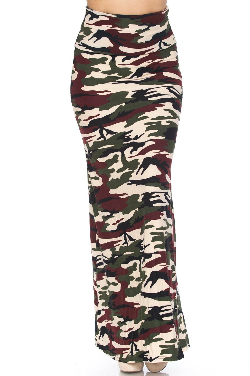 Front side image of Buttery Soft Cozy Camouflage Plus SIze Maxi Skirt