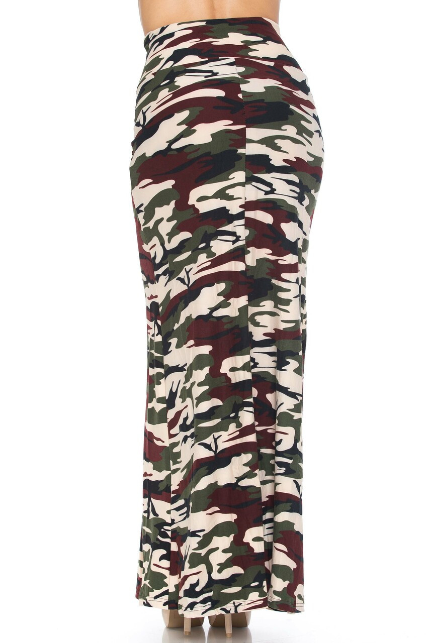 Rear view image of Buttery Soft Cozy Camouflage Plus SIze Maxi Skirt with an olive, brown, and beige color scheme.