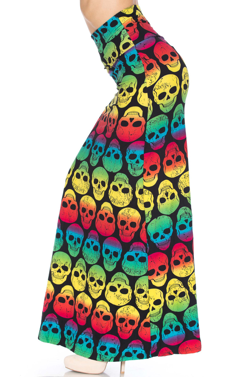 Left side of Buttery Soft Rainbow Skull Maxi Skirt featuring a super colorful rainbow skull design.