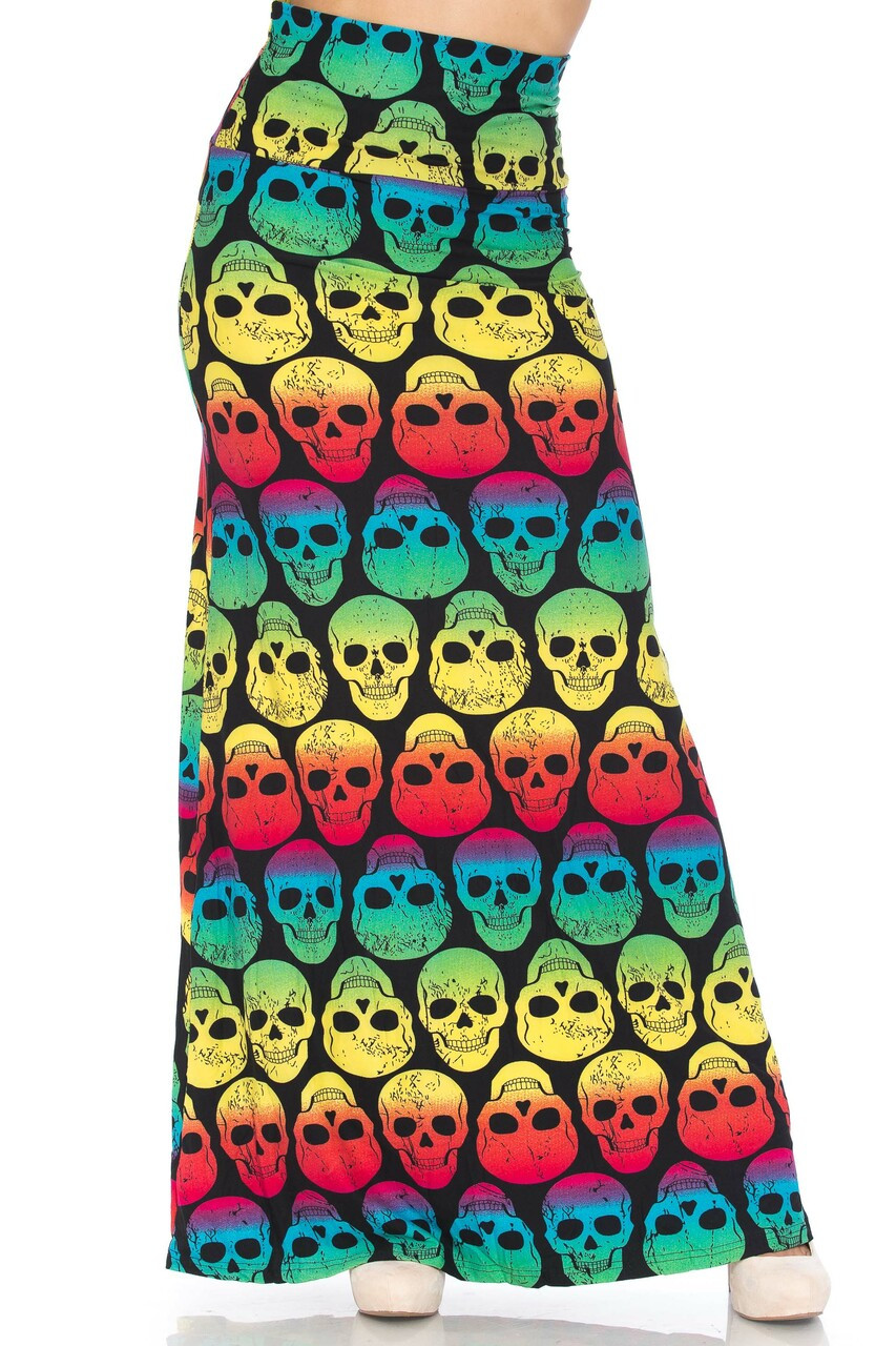 Front of Buttery Soft Rainbow Skull Maxi Skirt with a flattering high fabric waist.