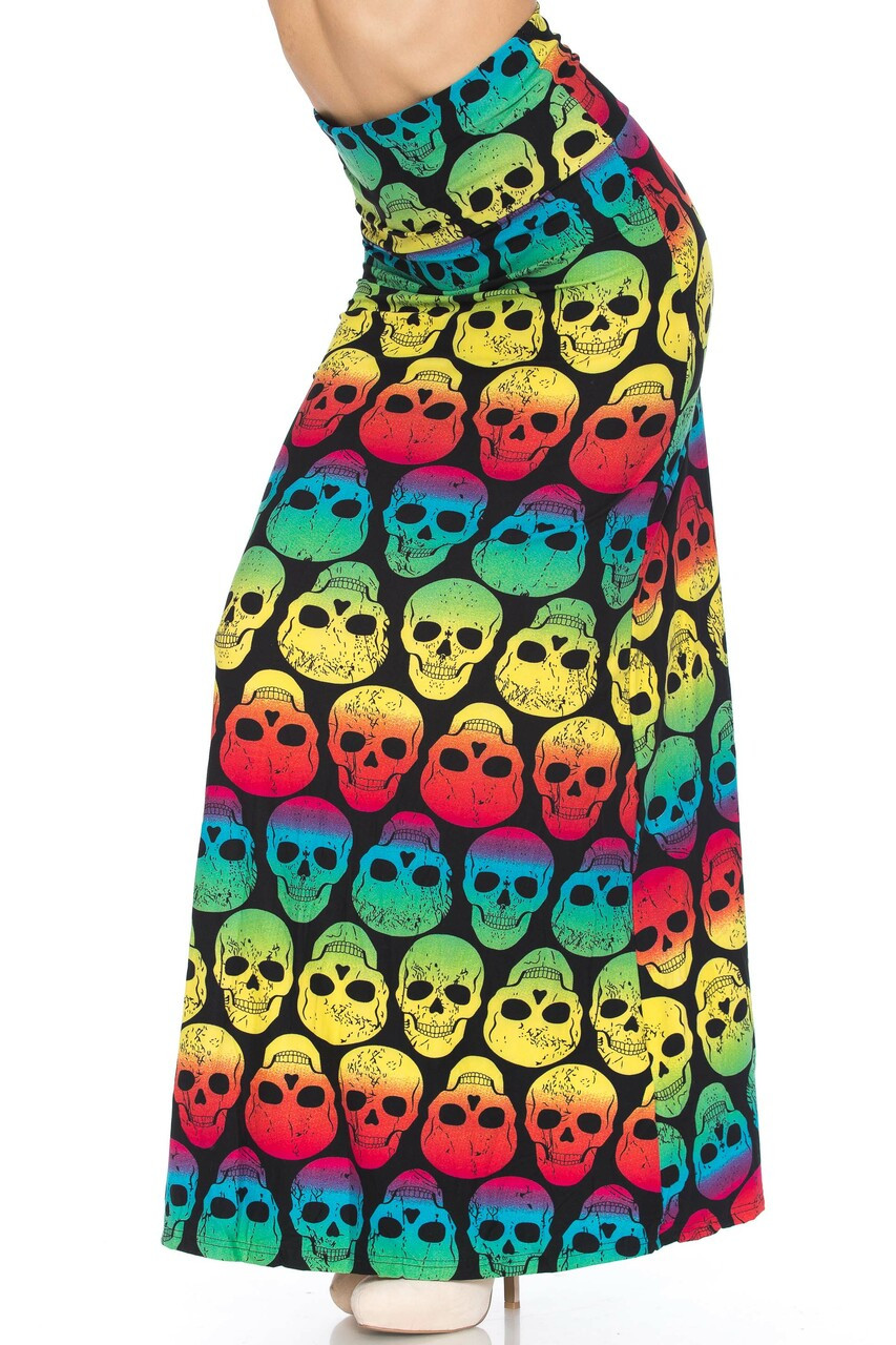 45 degree view of Buttery Soft Rainbow Skull Maxi Skirt