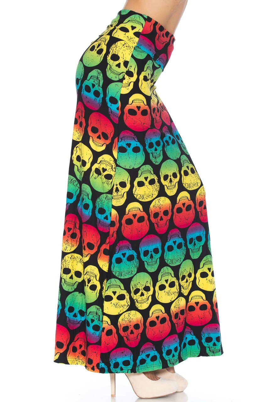Right side of Buttery Soft Rainbow Skull Plus Size Maxi Skirt