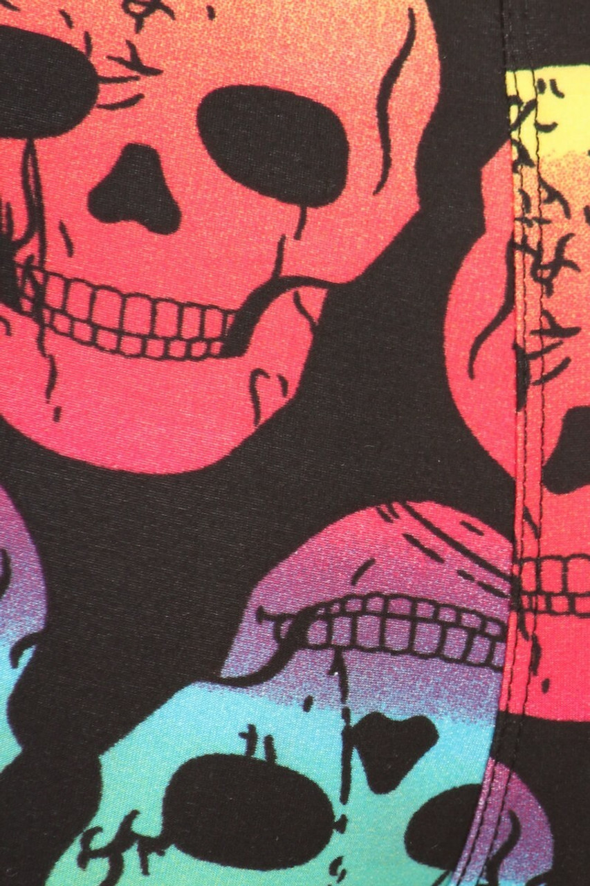 Close-up swatch of Buttery Soft Rainbow Skull Plus Size Maxi Skirt