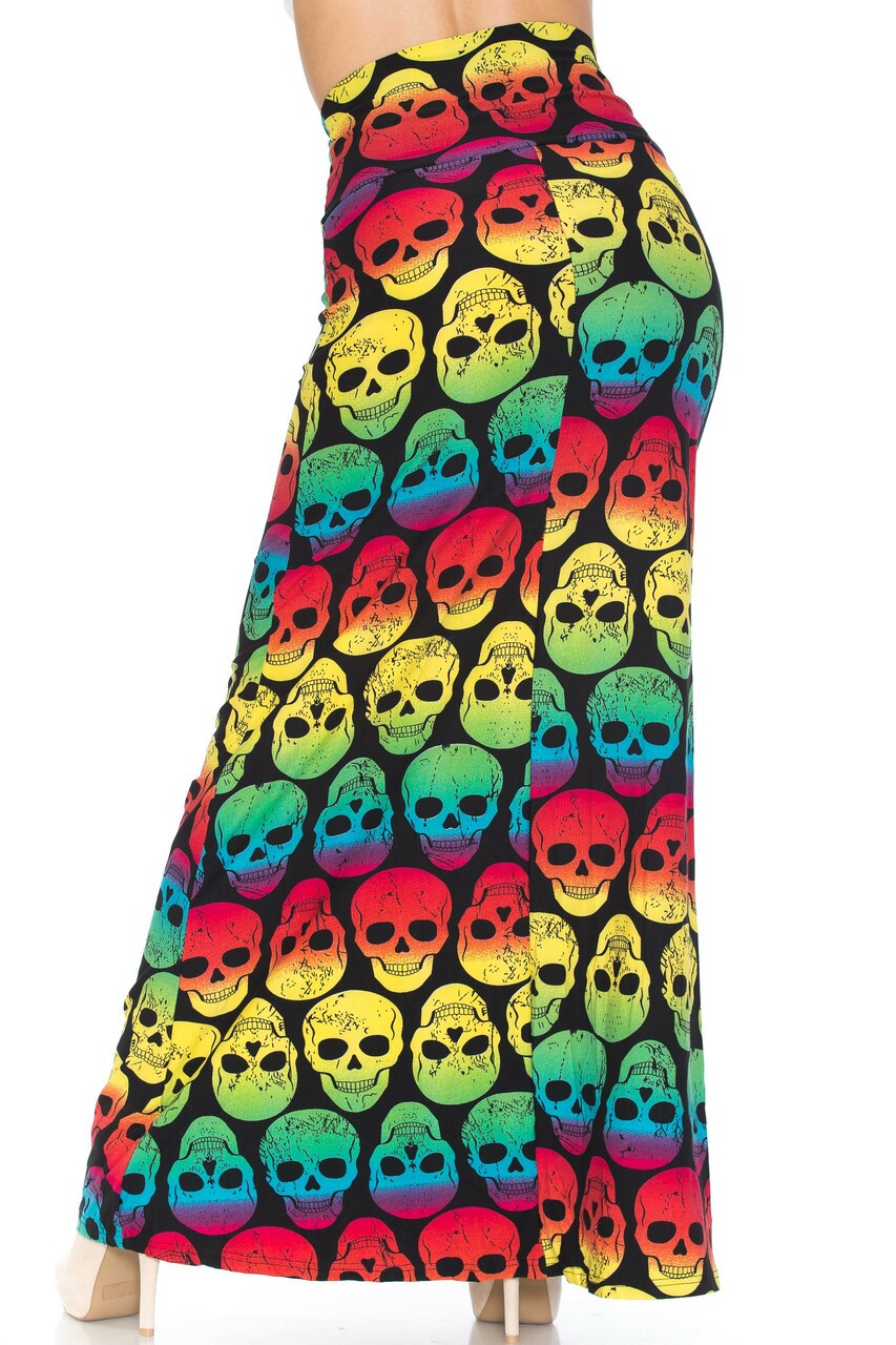 Back side image of Buttery Soft Rainbow Skull Plus Size Maxi Skirt with a relaxed fit for a fabulous flowing look.