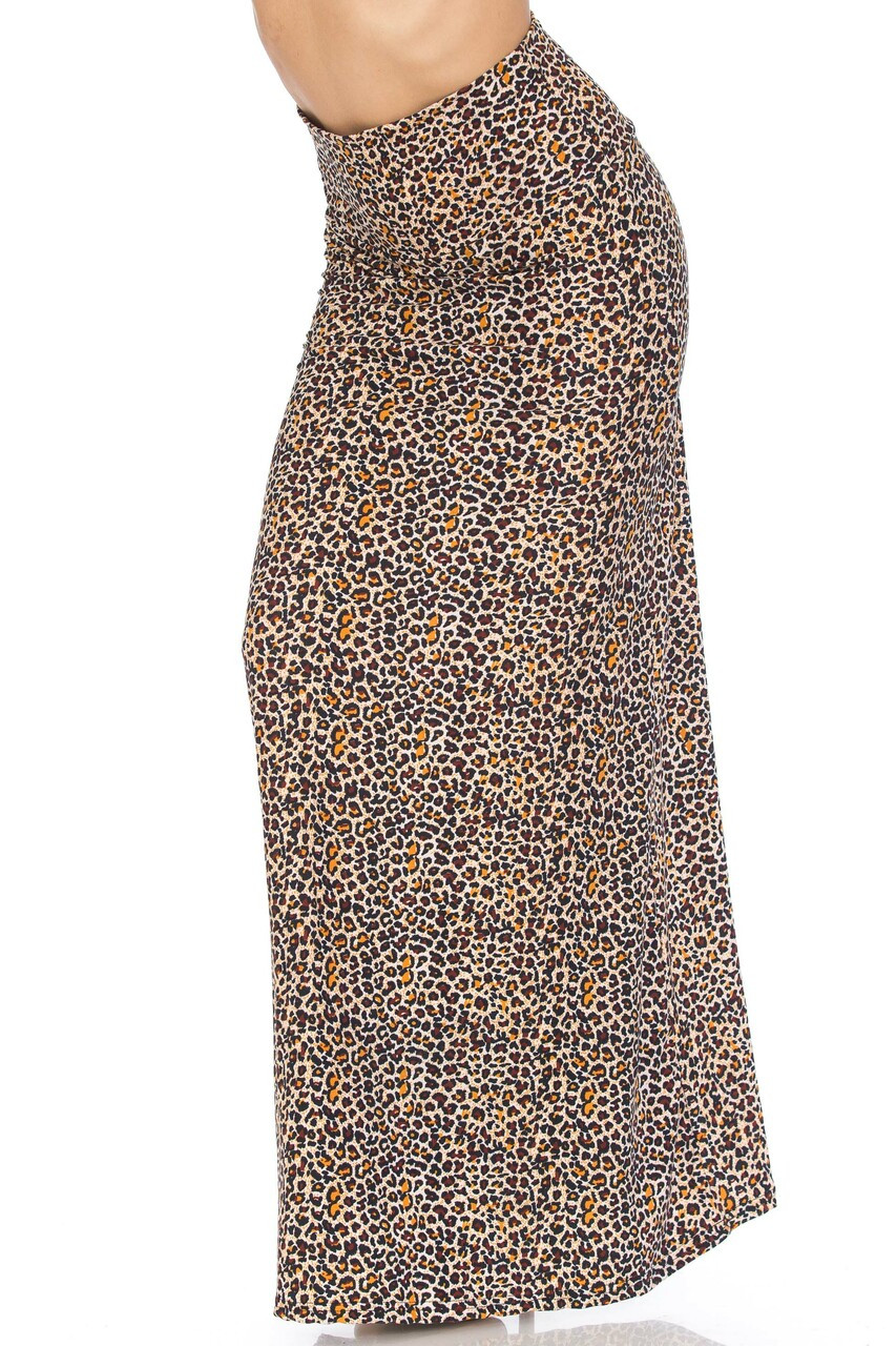 45 degree view of Buttery Soft Savage Leopard Plus Size Maxi Skirt