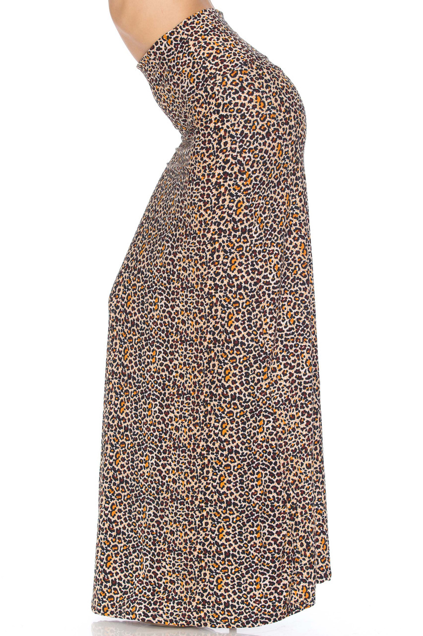 Left side view of Buttery Soft Savage Leopard Plus Size Maxi SkirtButtery Soft Savage Leopard Plus Size Maxi Skirt with an all over spotted animal print design.