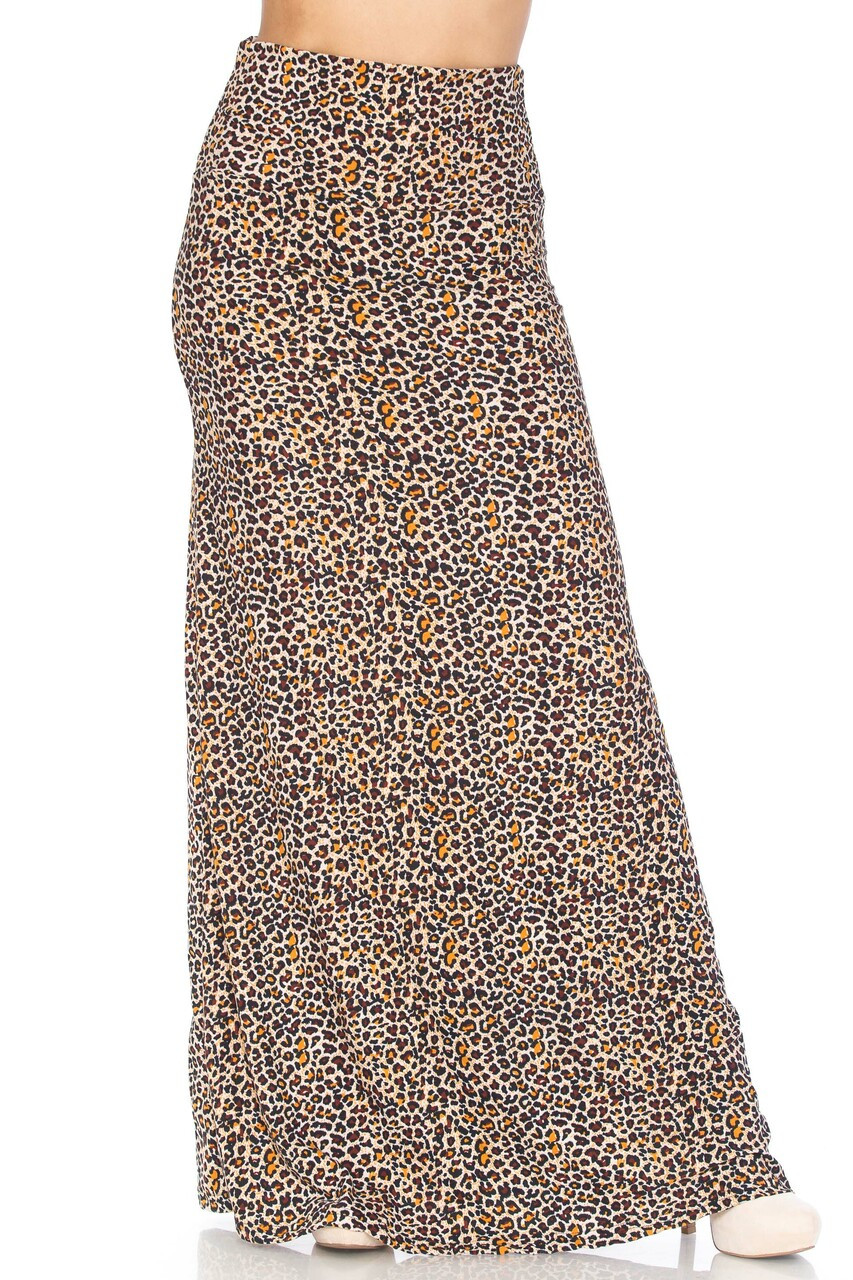 Front view of Buttery Soft Savage Leopard Plus Size Maxi Skirt with a hem that hits below ankle length depending on height.