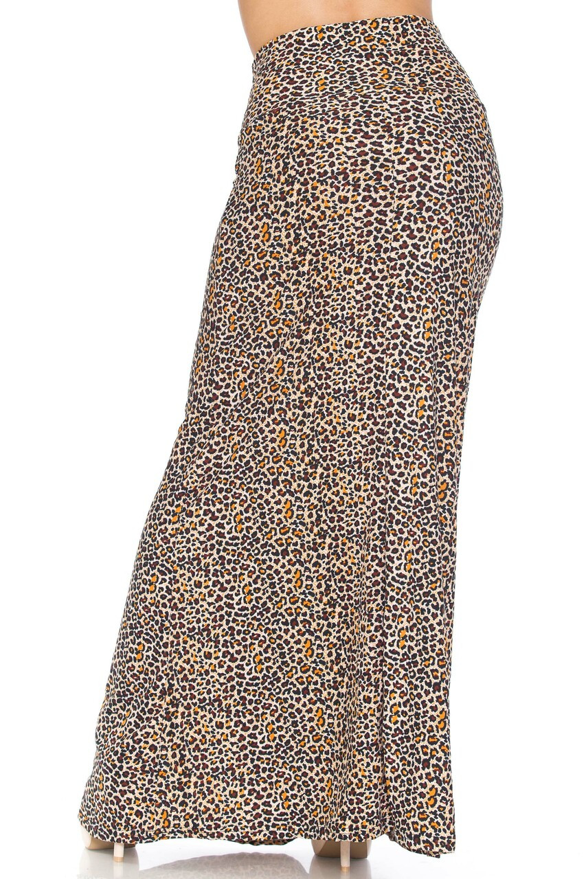 Back of Buttery Soft Savage Leopard Plus Size Maxi Skirt featuring a flattering high fabric waist design.