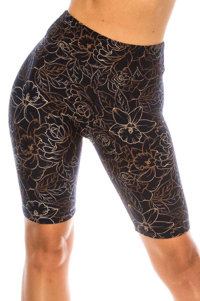 Buttery Soft Black Floral Stencil Biker Shorts - 3 Inch Waist Band