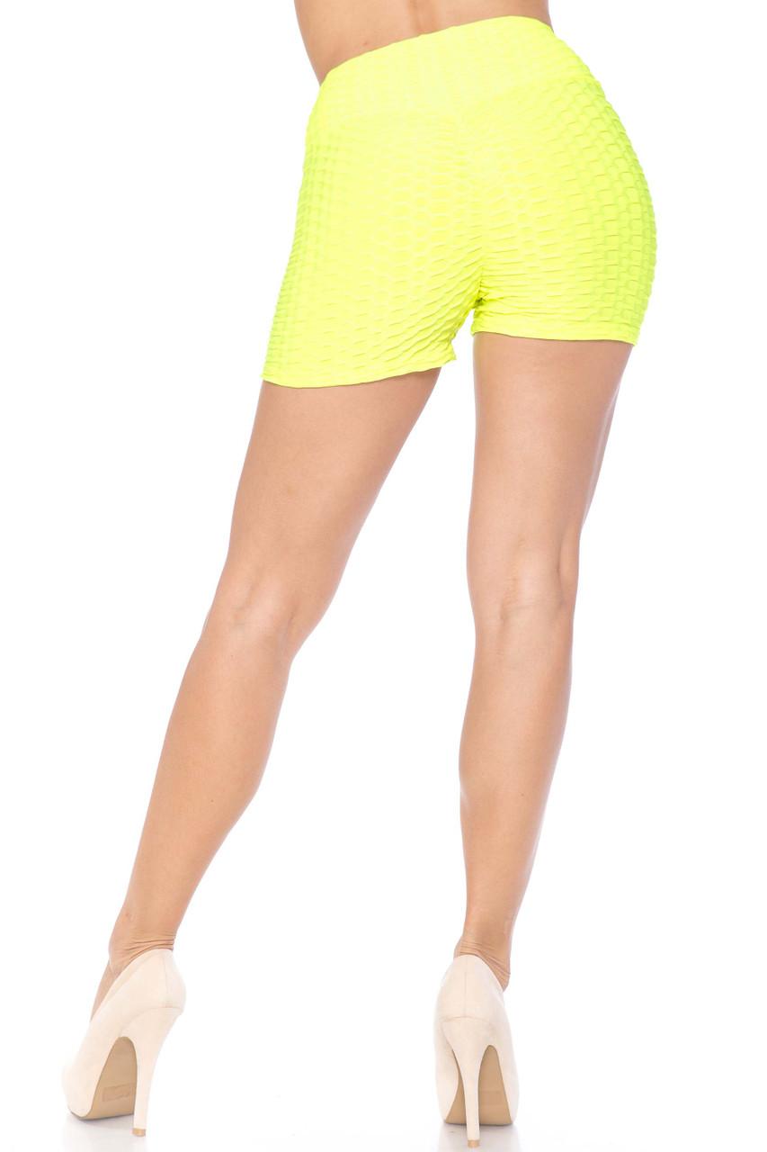 Neon Green Solid Textured Scrunch Butt Sport Shorts
