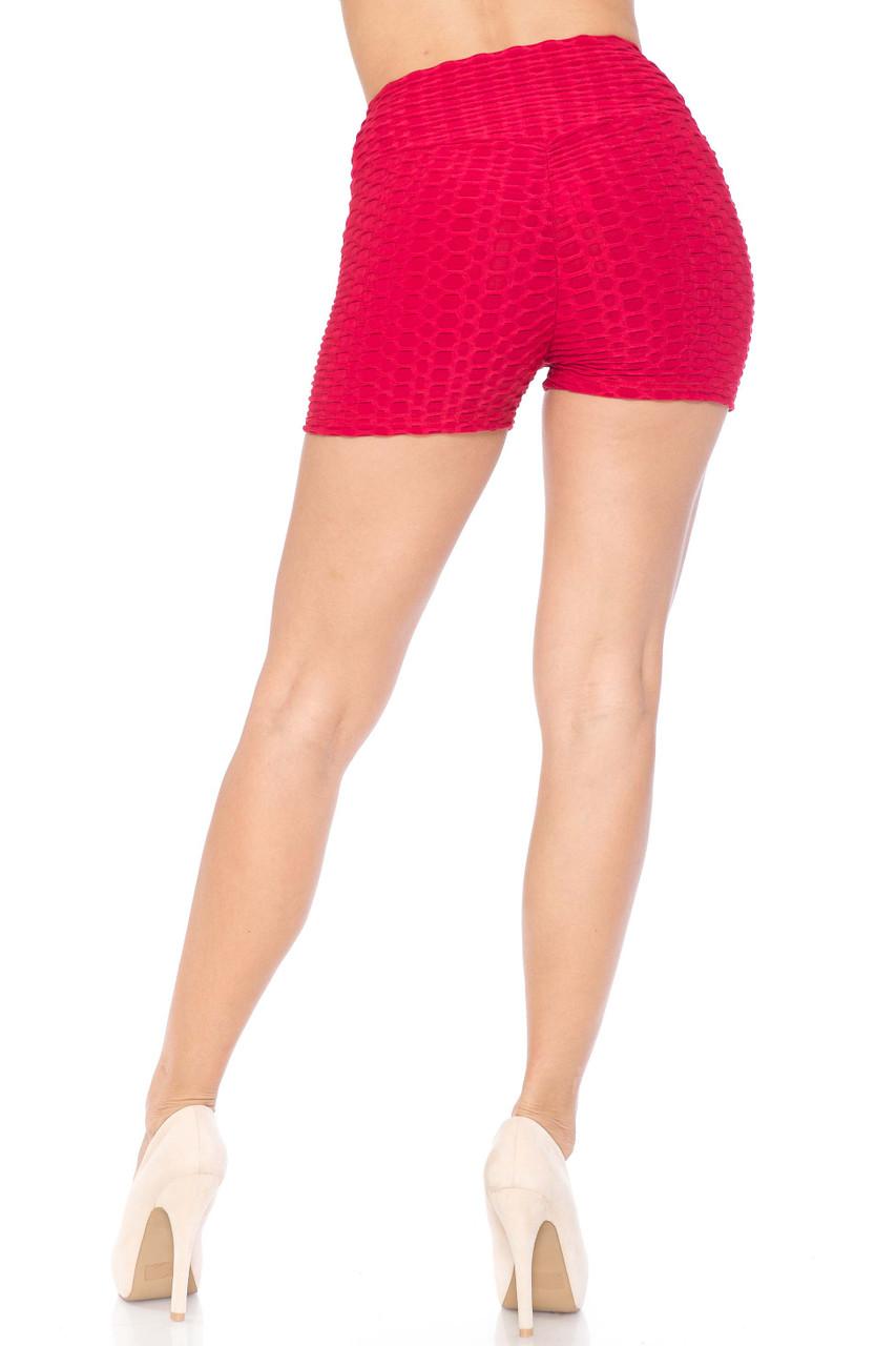 Red Solid Textured Scrunch Butt Sport Shorts