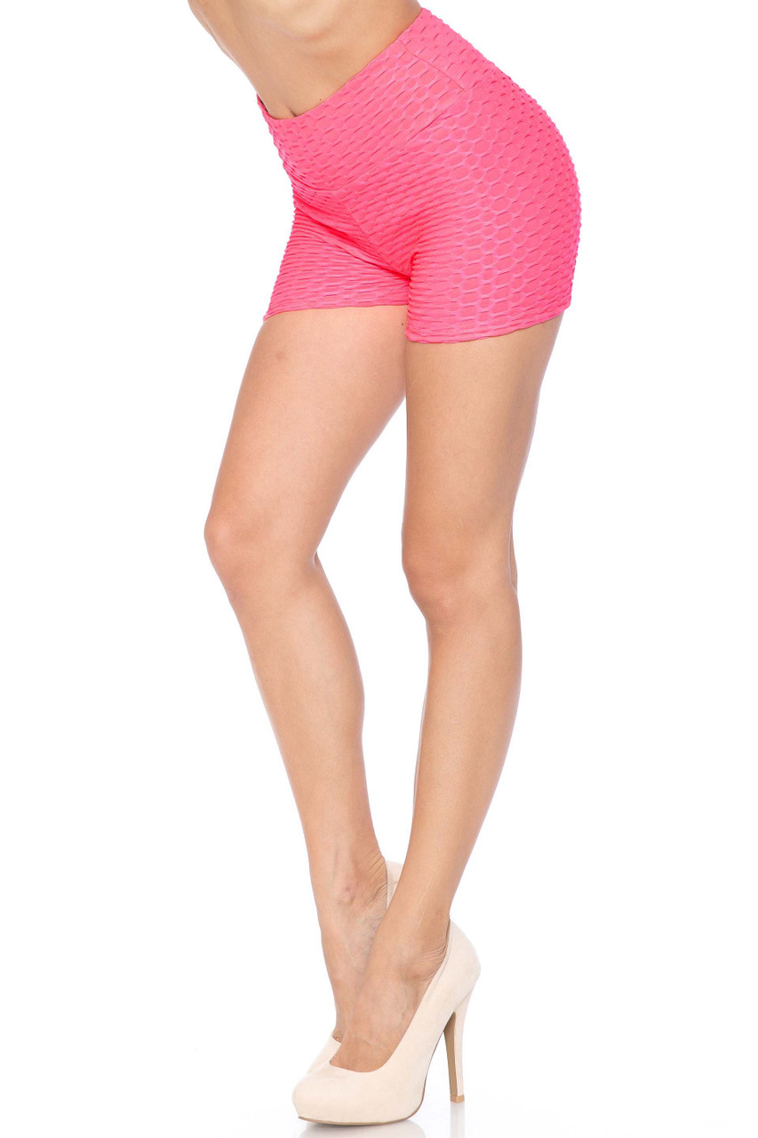 Hot Pink Solid Textured Scrunch Butt Sport Shorts