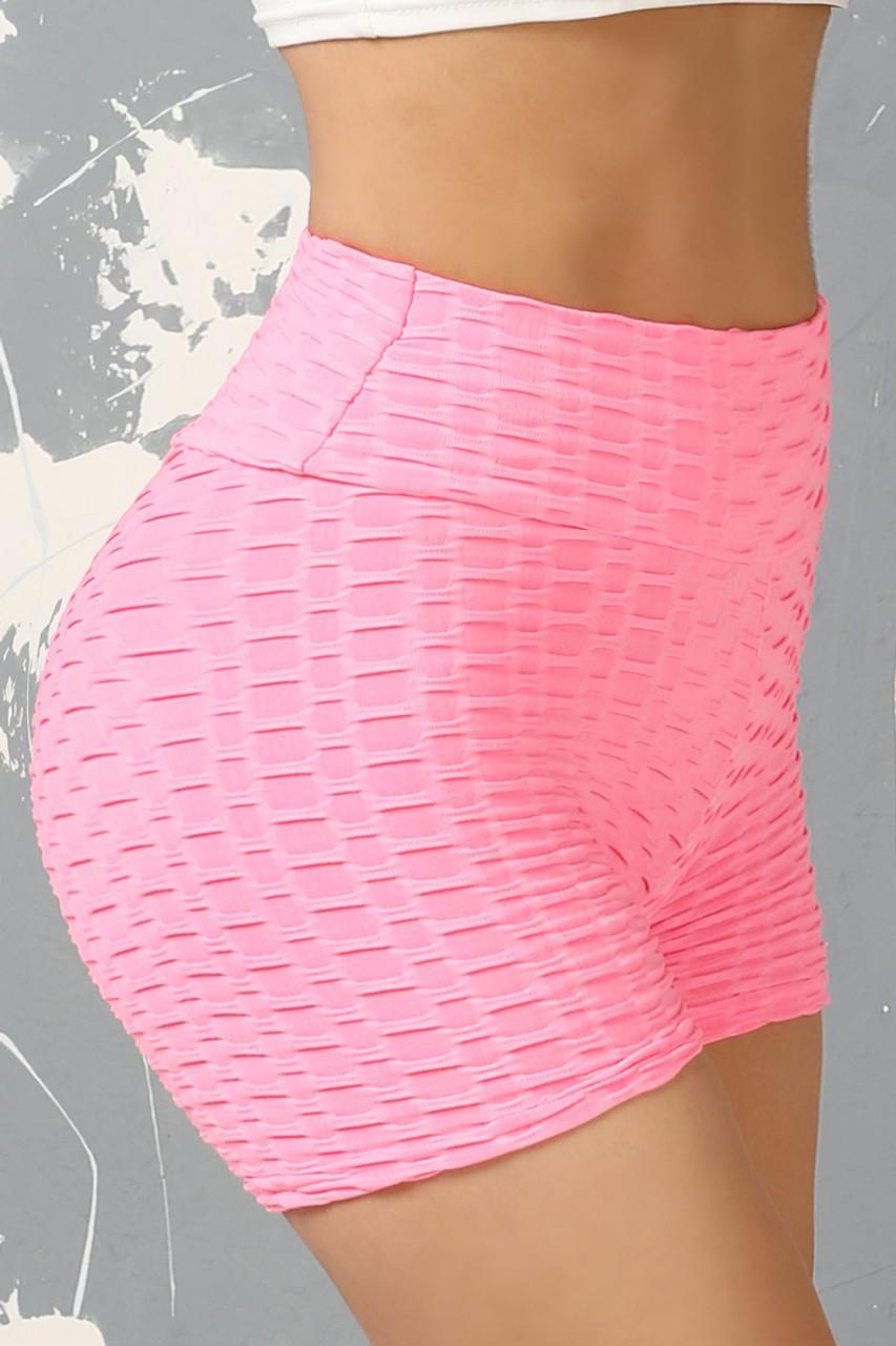 Pink Solid Textured Scrunch Butt Sport Shorts