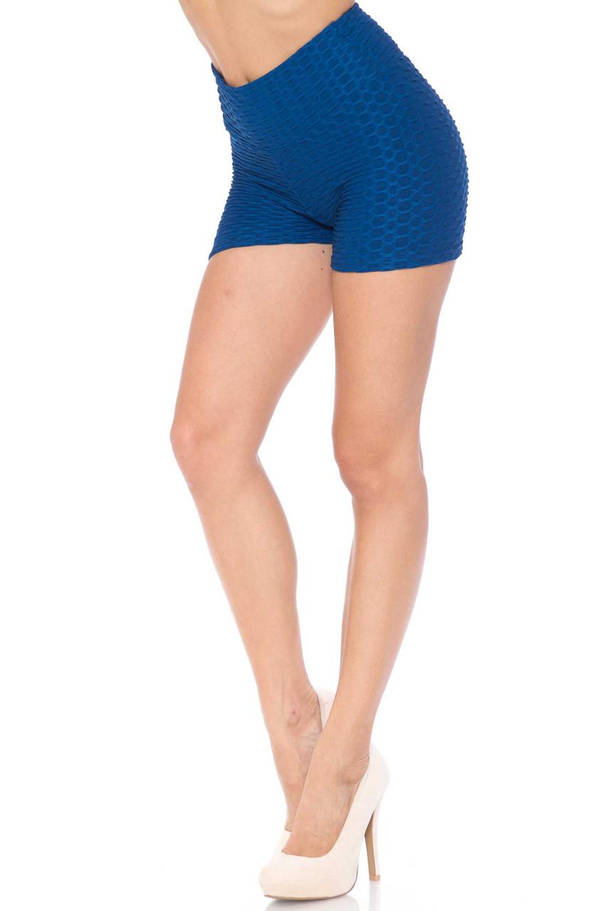 Cobalt Blue Solid Textured Scrunch Butt Sport Shorts