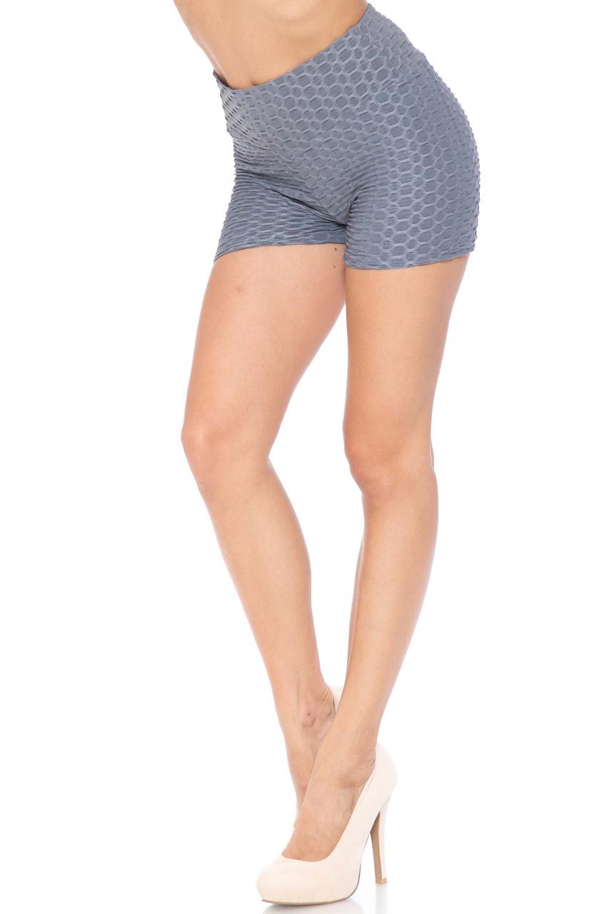Grey Solid Textured Scrunch Butt Sport Shorts