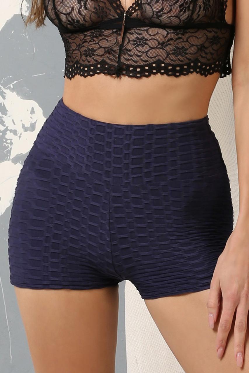 Navy Solid Textured Scrunch Butt Sport Shorts