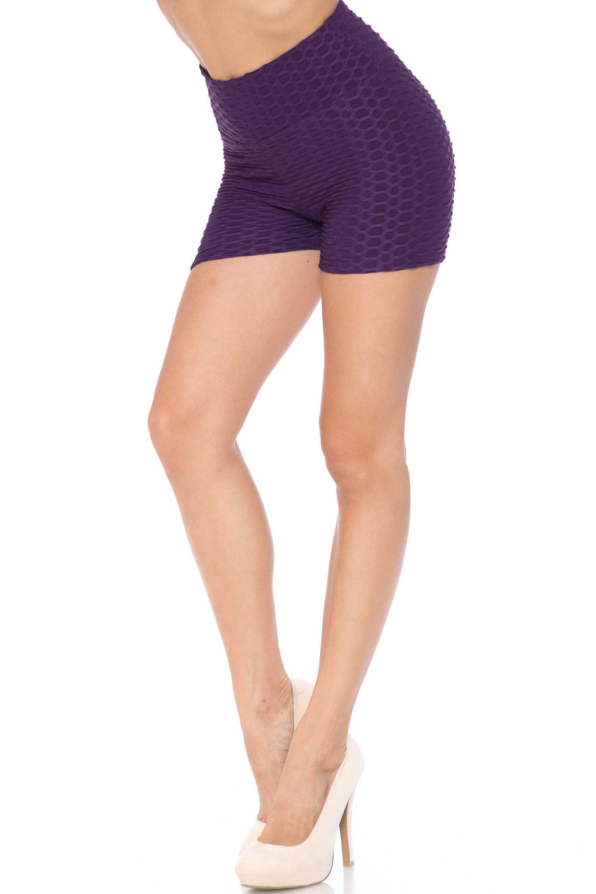 Purple Solid Textured Scrunch Butt Sport Shorts