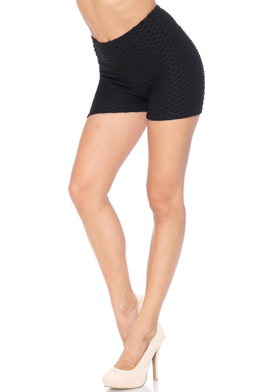 Black Solid Textured Scrunch Butt Sport Shorts