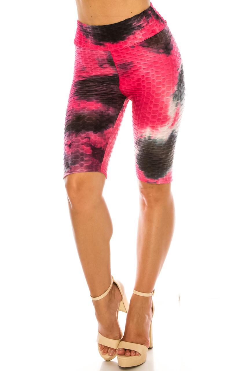 Vibrant Summer Tie Dye Scrunch Butt Biker Sport Shorts