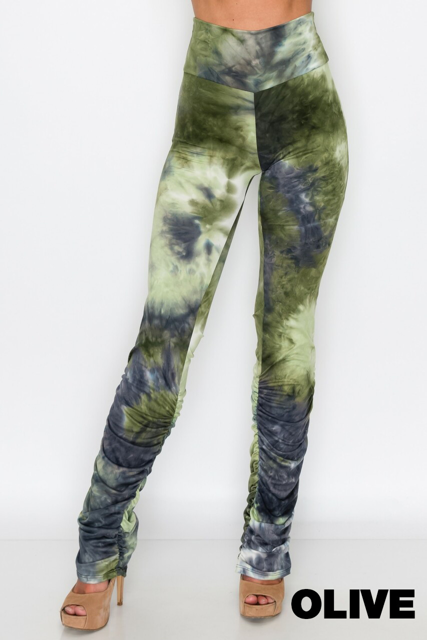 Olive Double Brushed Tie Dye Side Ruched Stacked High Waisted Leggings
