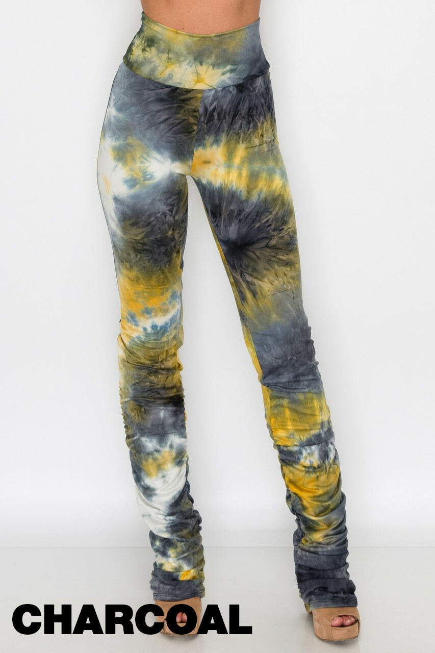 Charcoal Double Brushed Tie Dye Side Ruched Stacked High Waisted Leggings