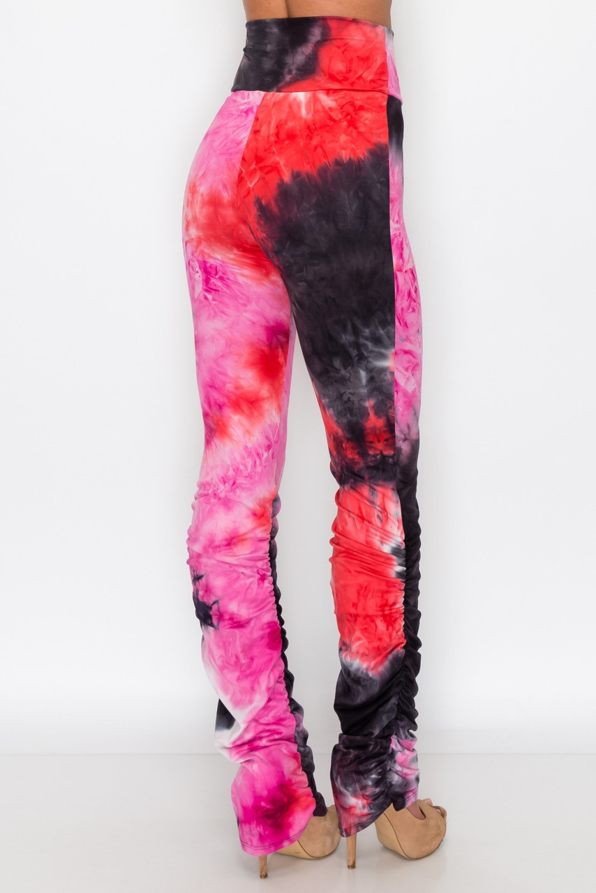 Pink Double Brushed Tie Dye Side Ruched Stacked High Waisted Leggings
