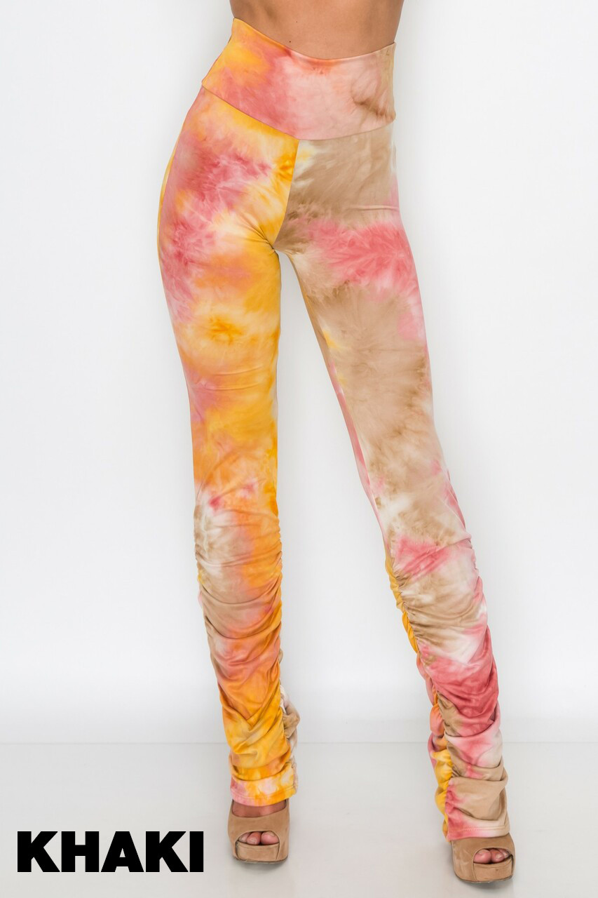 Khaki Double Brushed Tie Dye Side Ruched Stacked High Waisted Leggings