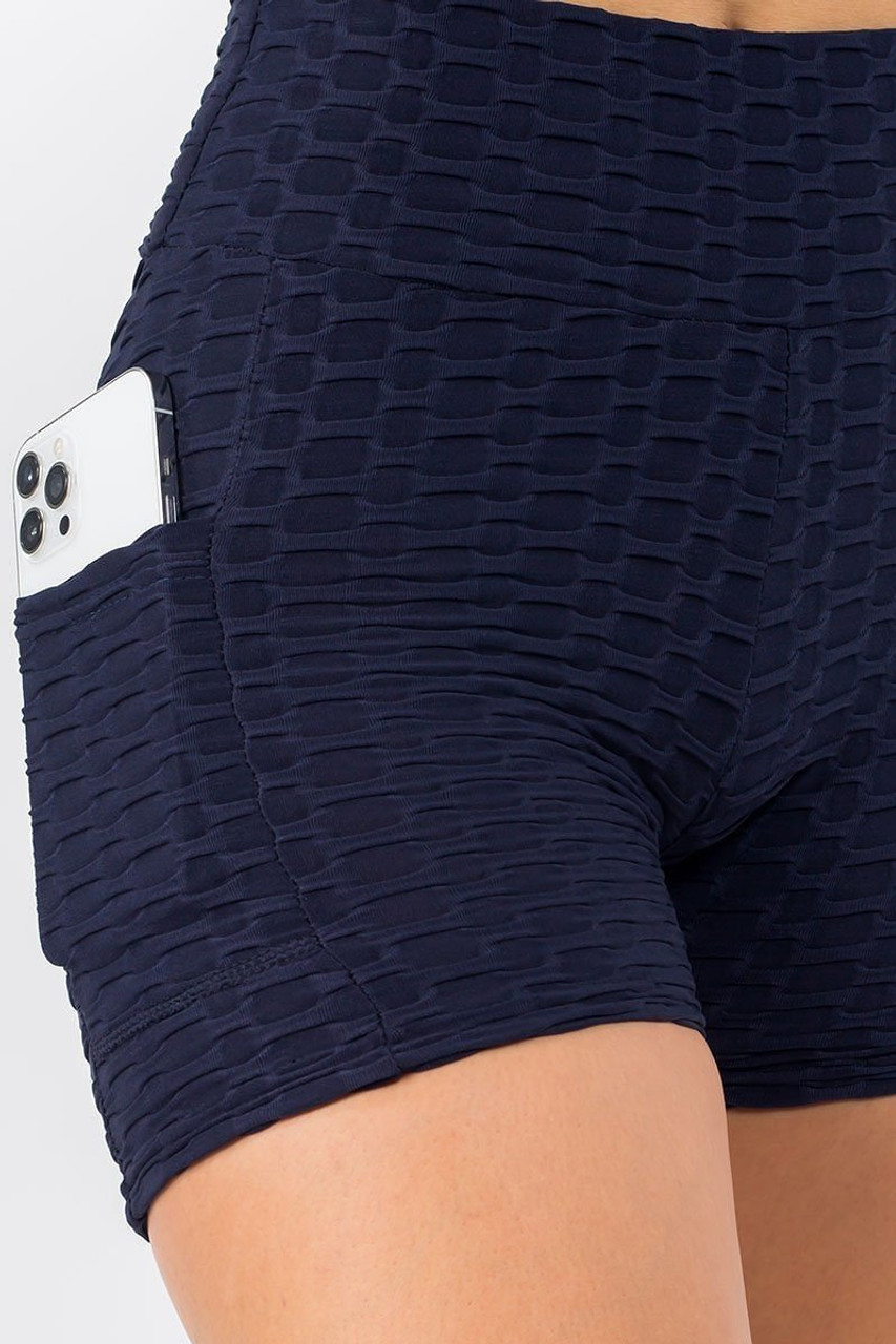 Navy Solid Textured Scrunch Butt Sport Shorts with Pockets