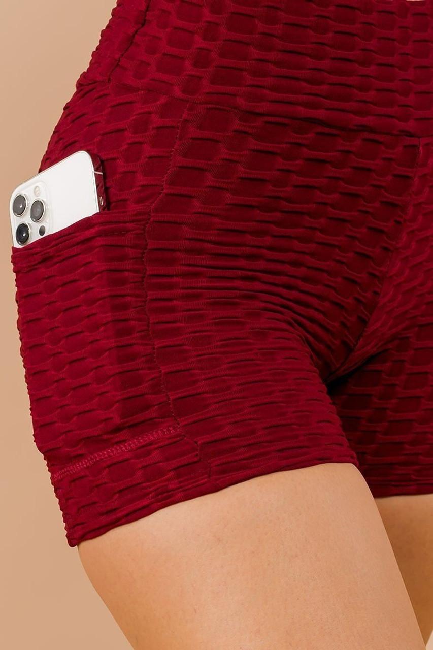 Burgundy Solid Textured Scrunch Butt Sport Shorts with Pockets