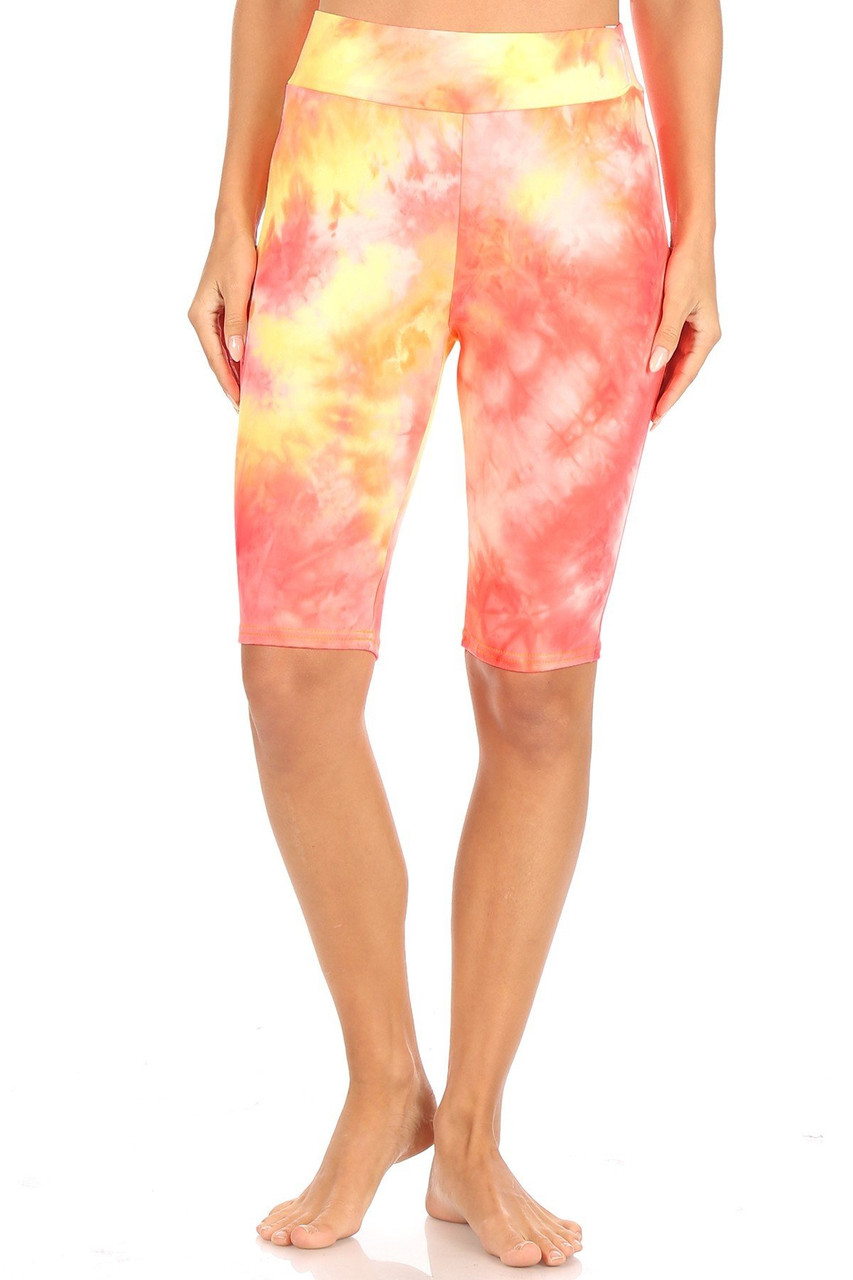 Coral Brushed Tie Dye High Waisted Biker Shorts