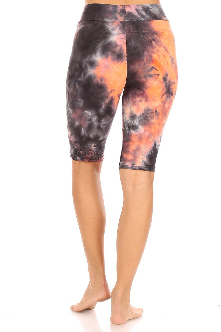 Orange Brushed Tie Dye High Waisted Biker Shorts