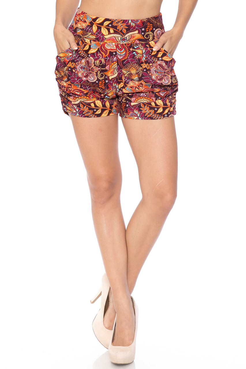 Buttery Soft Summer Floral Mezzanine Harem Shorts