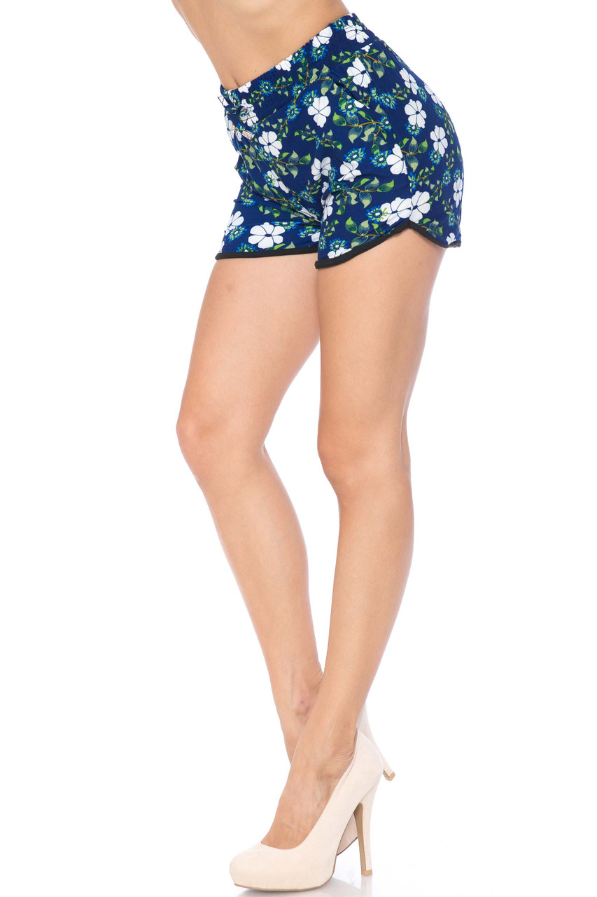 Buttery Soft Summer Blue Floral Dolphin Shorts