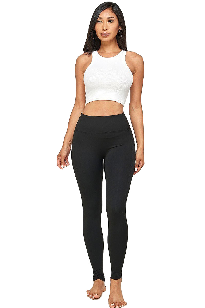 Solid High Waisted Black Workout Leggings with Side Pockets