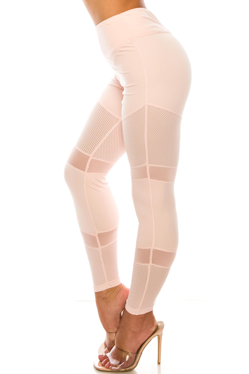 Baby Pink Perforated Mesh High Waisted Sport Leggings