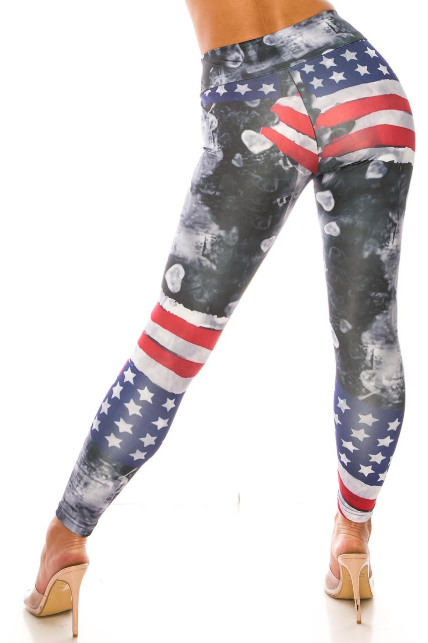 Painted USA Flag High Waisted Sport Leggings