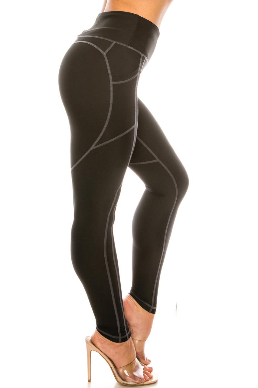 White on Black Contrast Heart Stitch High Waisted Sport Leggings